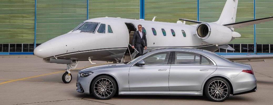 A photo of the a 2021 Mercedes-Benz S-Class Sedan parked at a private airport.