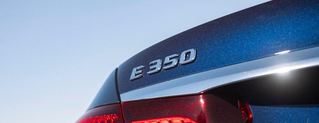 A photo of the E 350 badge used by the 2021 Mercedes-Benz E-Class Sedan.