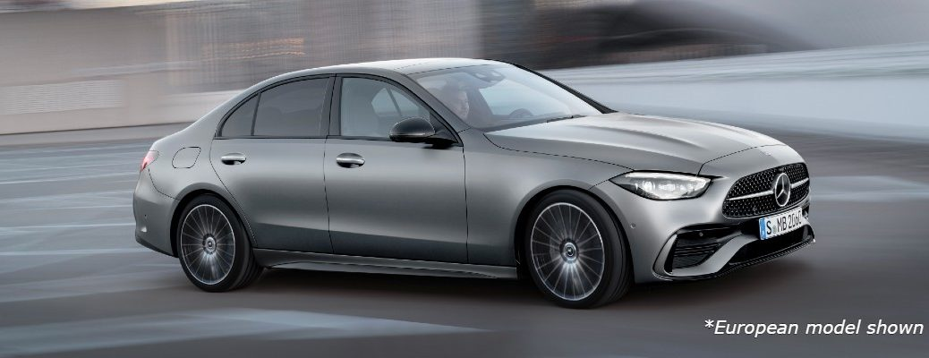 A right-profile look at the 2022 Mercedes-Benz C-Class Sedan.