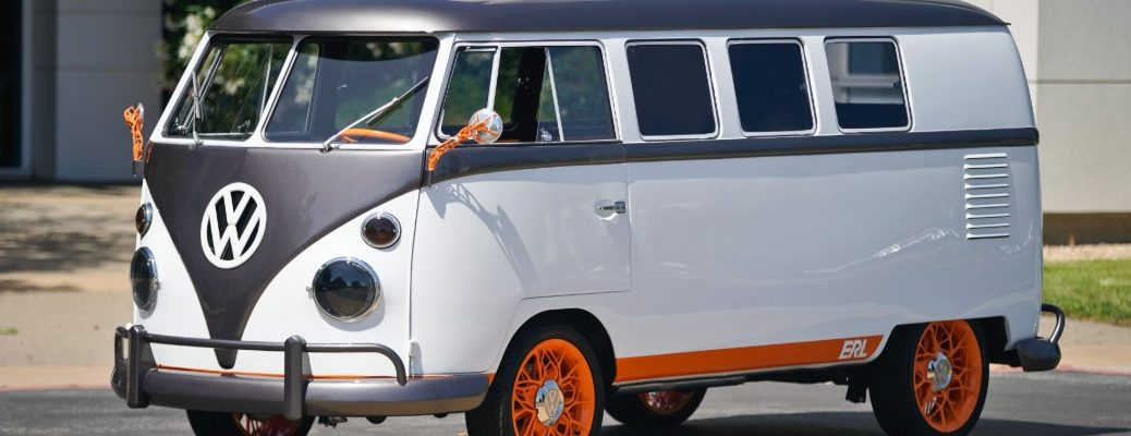 Volkswagen Type 20 Concept Vehicle exterior shot with biometric technology and generative orange organic design elements