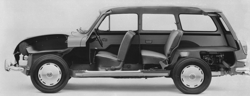 Volkswagen 1600 Squareback sedan exterior and interior side shot of seating and cargo space