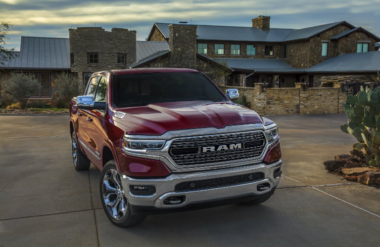 Front view of 2019 RAM 1500 parked at worksite
