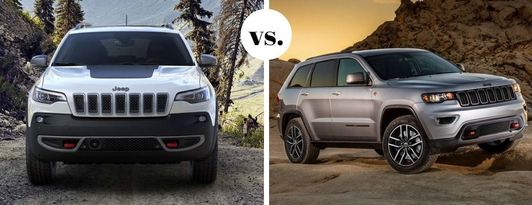 White Jeep Cherokee and silver Jeep Grand Cherokee models in comparison photo