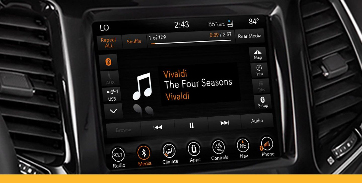 Bluetooth audio streamed on Uconnect infotainment screen