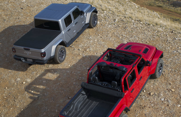 Overhead view of two 2020 Jeep Gladiator models