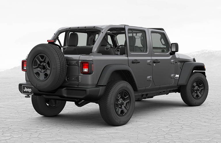 Rear shot of gray Jeep Wrangler Unlimited