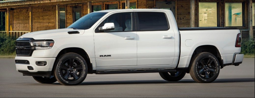Profile view of white 2020 RAM 1500