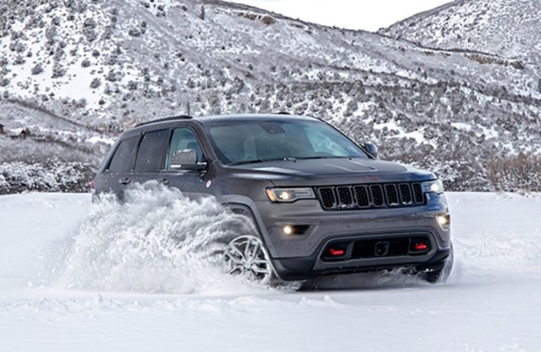Exterior view of a black 2020 Jeep Grand Cherokee