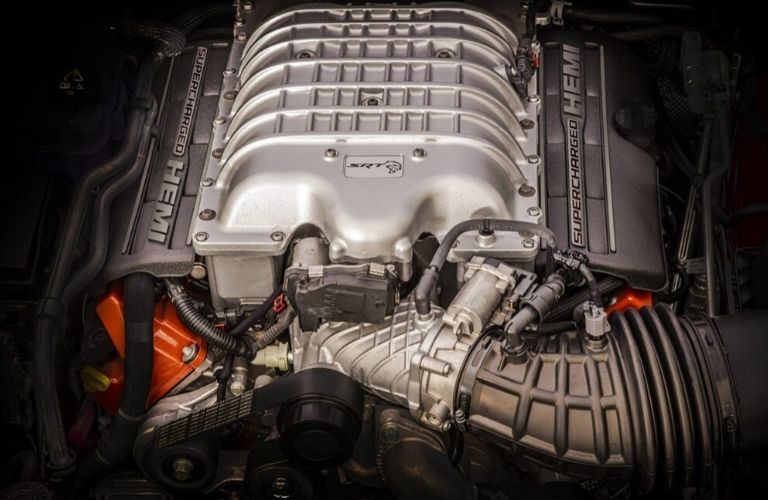 Closeup view of the 2020 Jeep Grand Cherokee Supercharged HEMI engine
