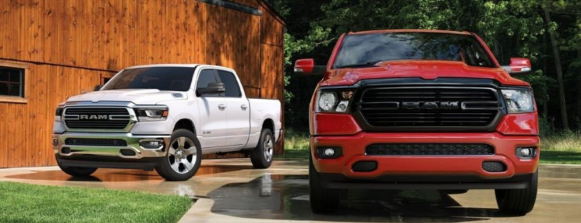 Exterior view of two 2020 RAM 1500 models