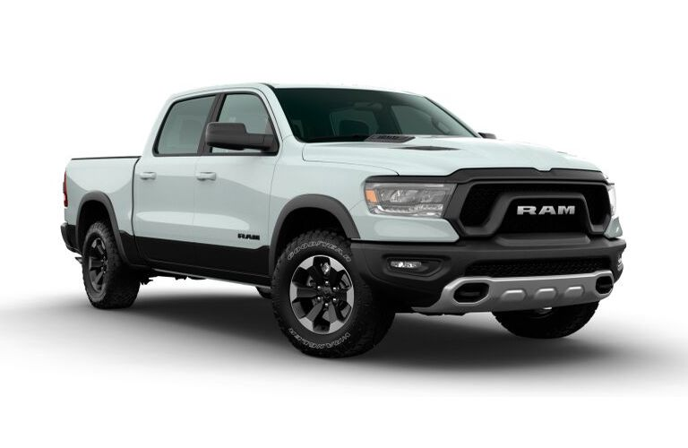 2020 RAM 1500 Bright White and Diamond Black Crystal Pearl Exterior Color Option