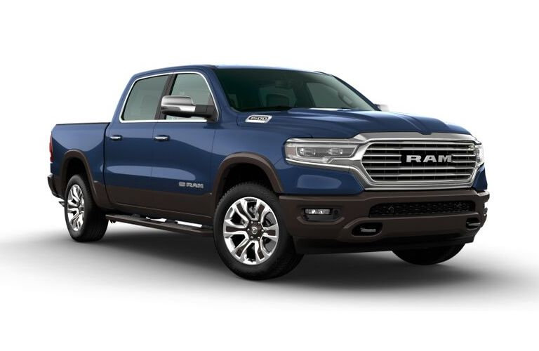 2020 RAM 1500 Patriot Blue Pearl and Walnut Brown Metallic Exterior Color Option