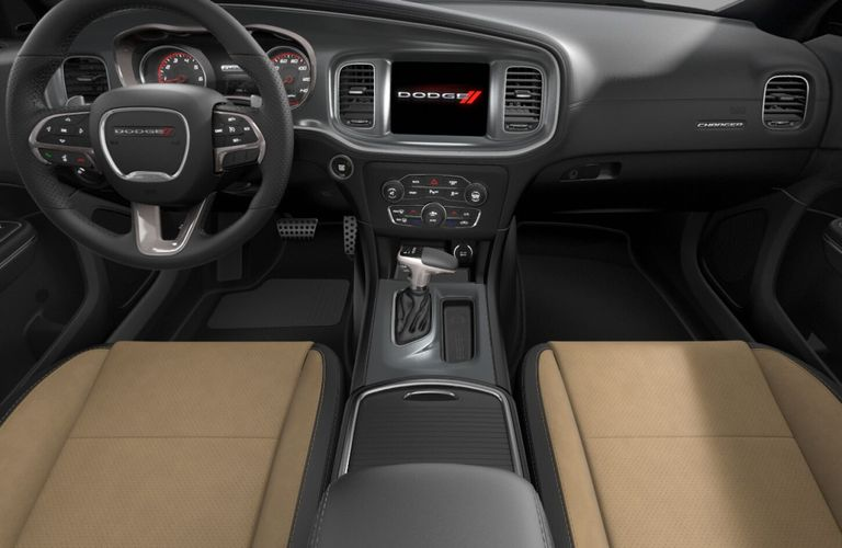 2020 Dodge Charger Black and Caramel Nappa Leather and Alcantara Interior Color Option