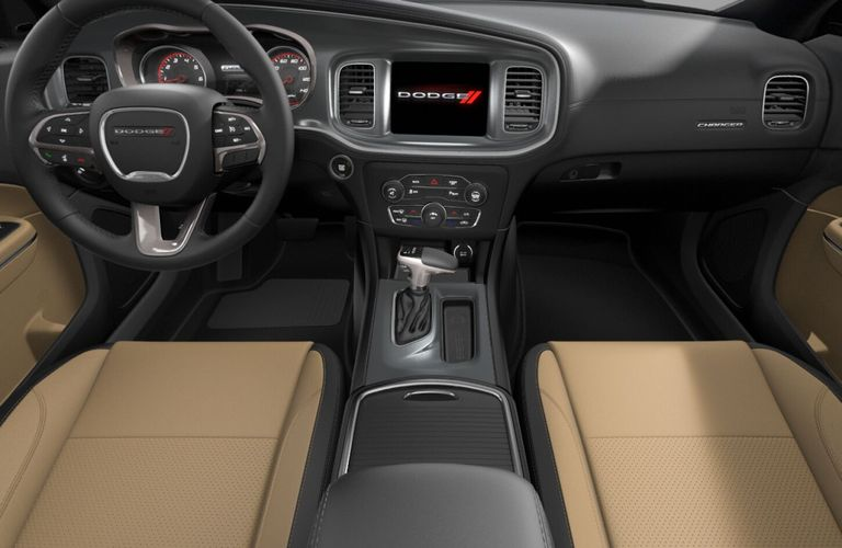 2020 Dodge Charger Black and Caramel Nappa Leather Interior Color Option