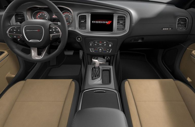 2020 Dodge Charger Black and Caramel Scat Pack Nappa Leather and Alcantara Interior Color Option