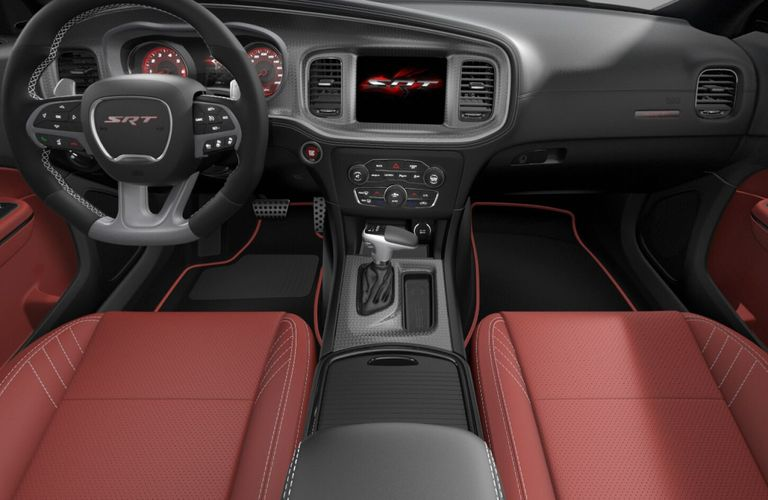 2020 Dodge Charger Black and Demonic Red Hellcat Laguna Leather and Alcantara Interior Color Option
