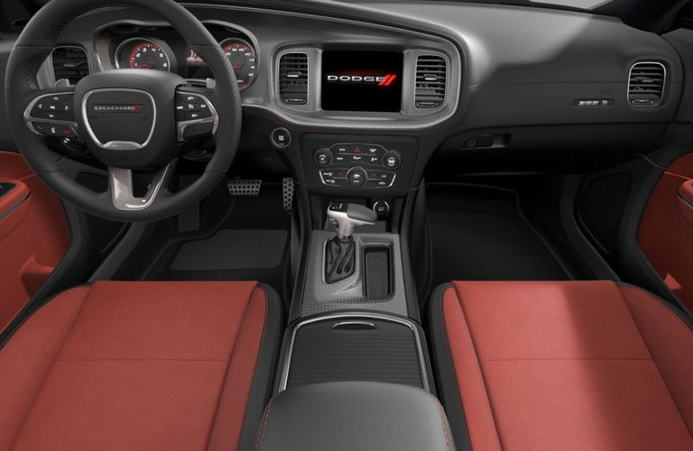 2020 Dodge Charger Black and Red Scat Pack Nappa Leather and Alcantara Interior Color Option
