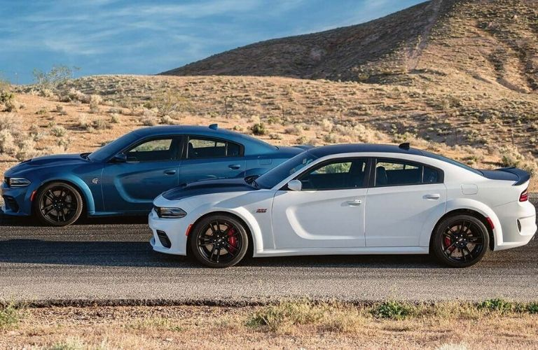 Exterior view of two 2020 Dodge Charger models