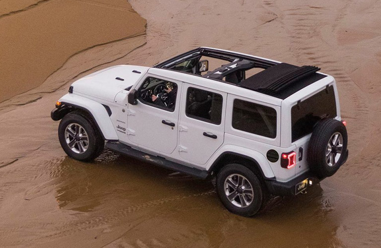 Exterior view of a white 2020 Jeep Wrangler