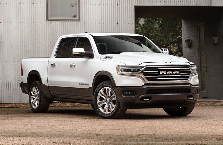 Exterior view of a white 2020 RAM 1500
