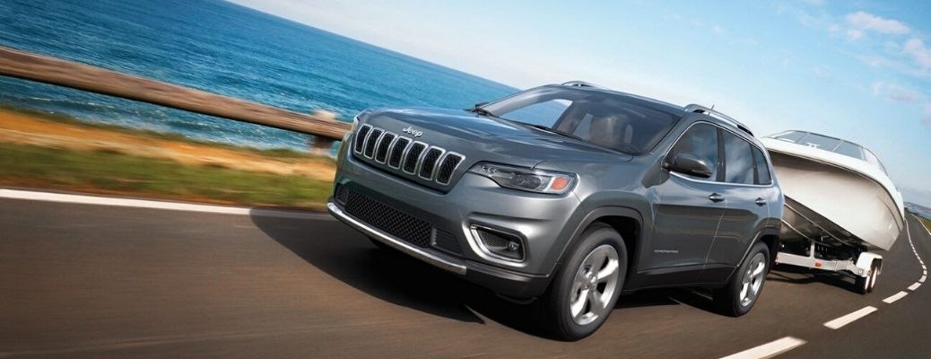Exterior view of a gray 2020 Jeep Cherokee