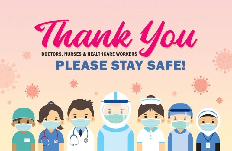 Graphic thanking medical professionals for all they do during the COVID-19 crisis