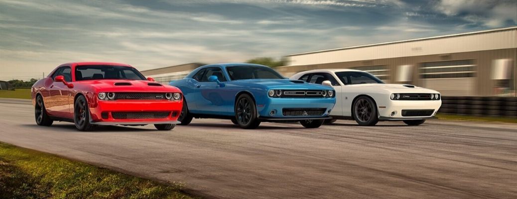 Exterior view of three 2020 Dodge Challenger models