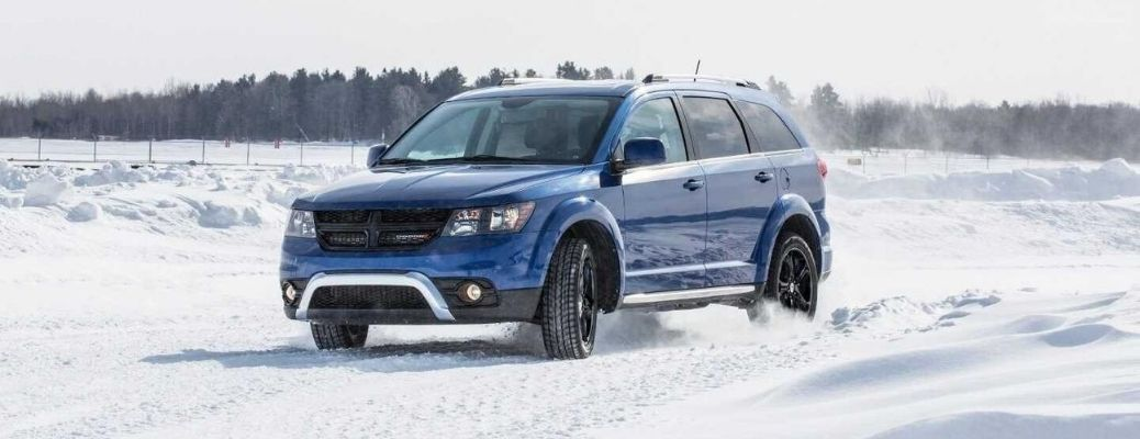 Exterior view of a blue 2020 Dodge Journey