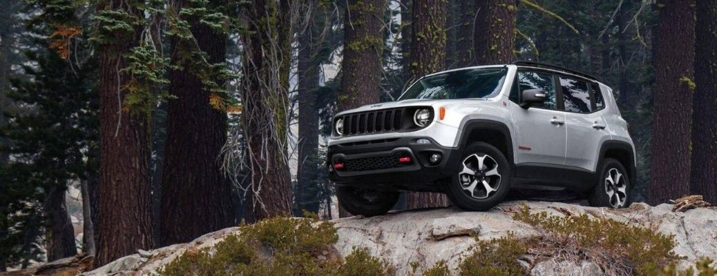 Exterior view of silver 2020 Jeep Renegade