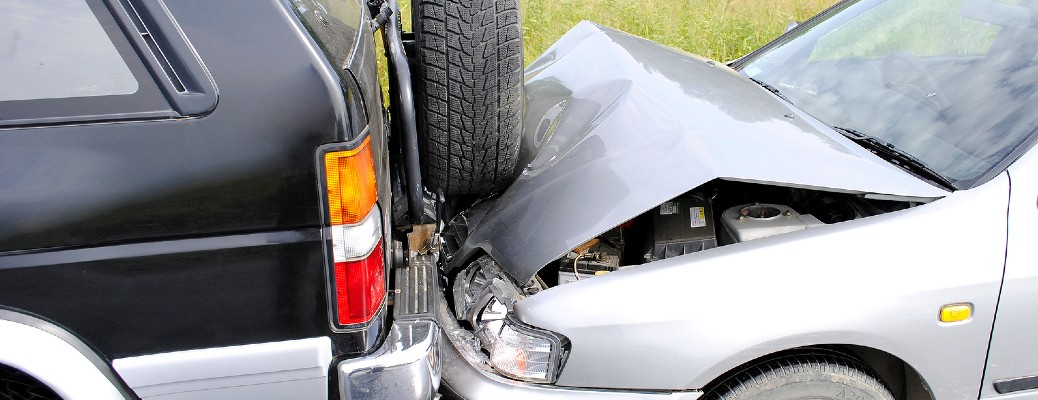 Two vehicles involved in a collision