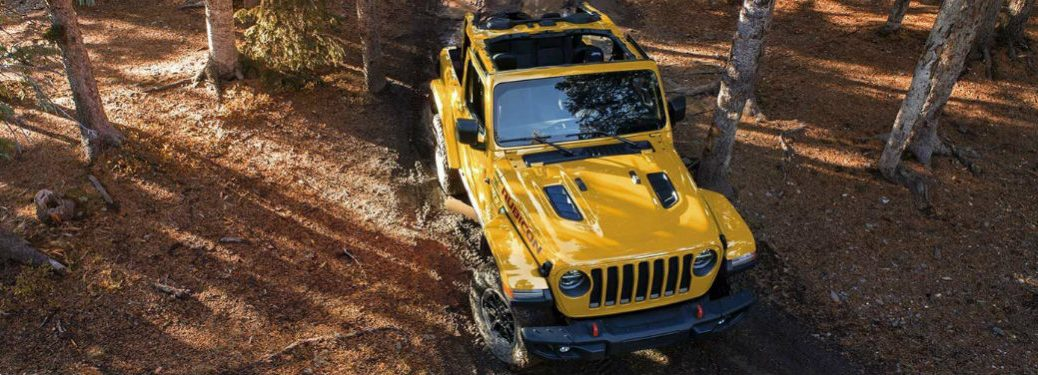 Yellow 2019 Jeep Wrangler off-roading in a forest