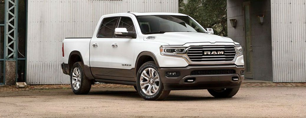 2020 Ram 1500 white exterior front fascia passenger side parked