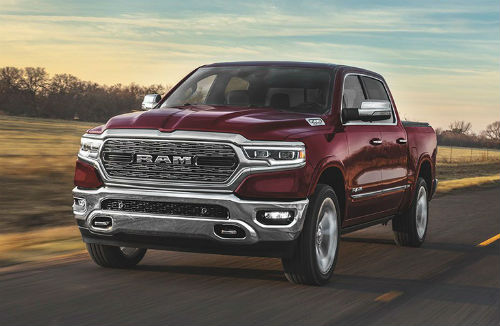 2020 Ram 1500 red exterior front fascia driver side driving