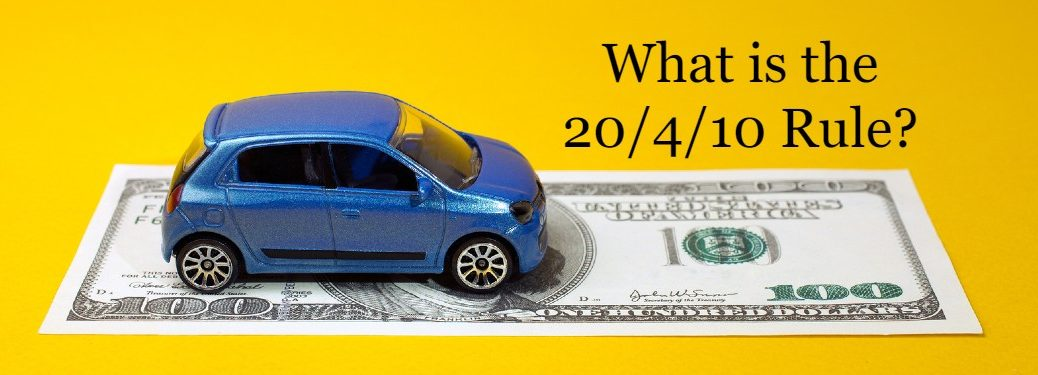 "Blue toy car on a one-hundred dollar bill with the text ""What is the 20/4/10 rule?"""