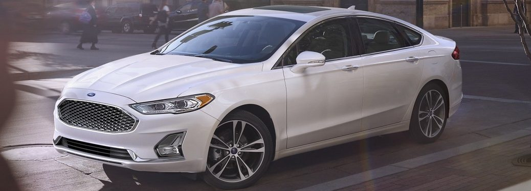Front driver angle of a white 2020 Ford Fusion