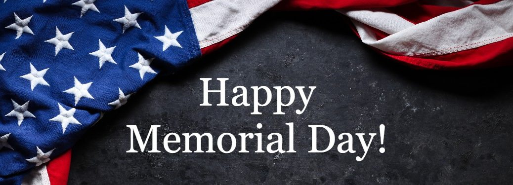 "Dark background with the American flag and the text ""Happy Memorial Day!"""