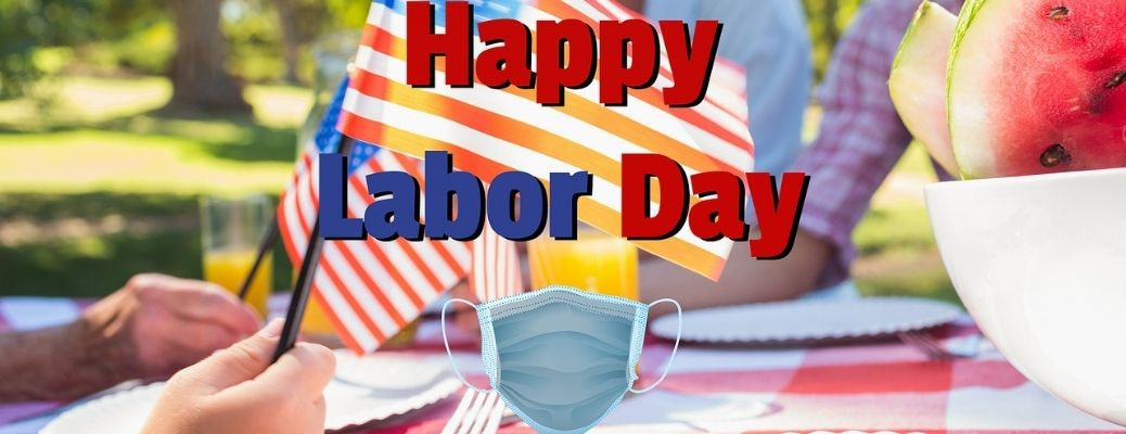 Image showing Happy Labor Day and a face mask against a blurred background of a family picnic