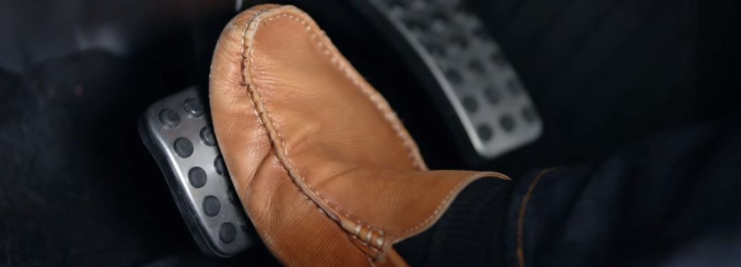 foot on a brake pedal