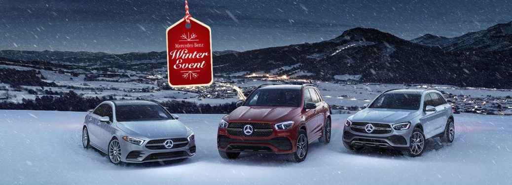 mercedes-benz winter event tag with mercedes-benz vehicles in the snow