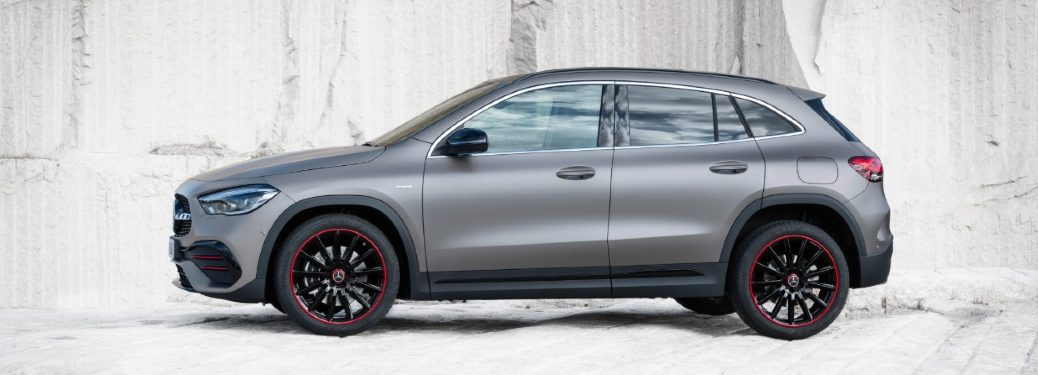side view of 2021 mercedes-benz gla by rock formation