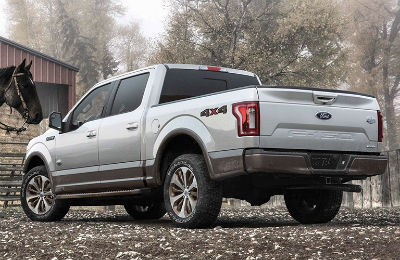 2019 Ford F-150 exterior back fascia and driver side with horse in front of it
