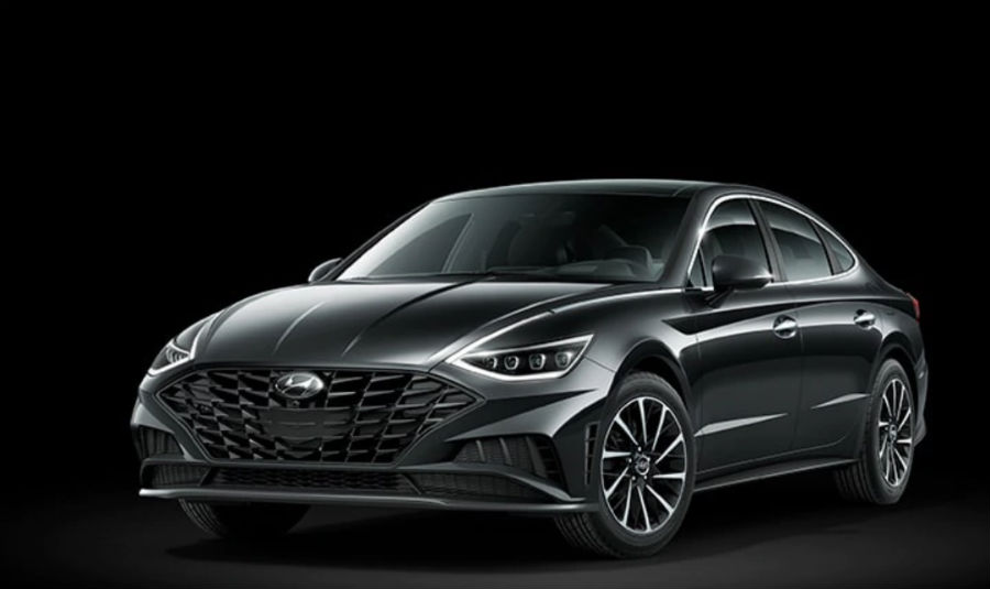 Phantom Black 2020 Hyundai Sonata exterior front fascia and driver side on black background