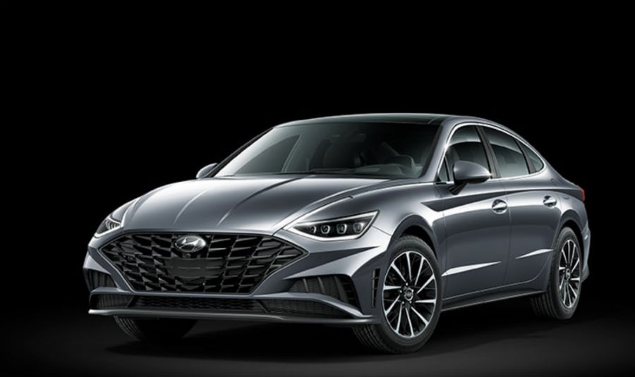 Portofino Gray 2020 Hyundai Sonata exterior front fascia and driver side on black background