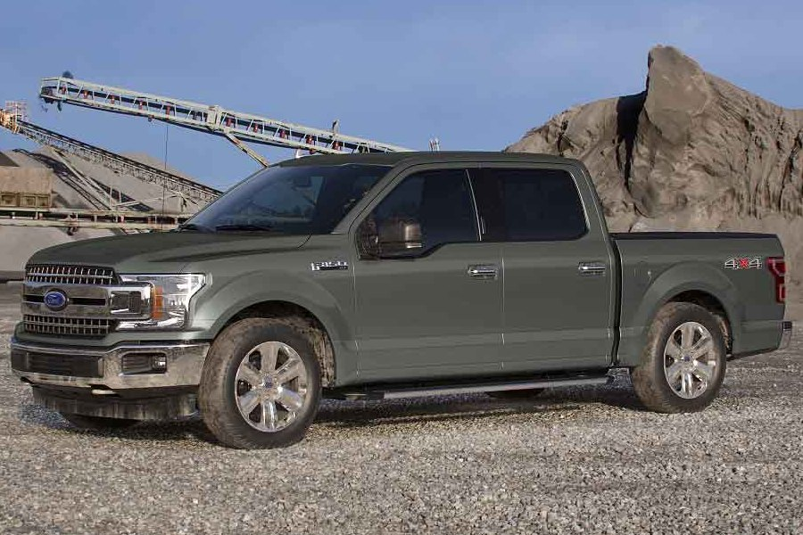 Front driver angle of the 2019 Ford F-150 in Silver Spruce color