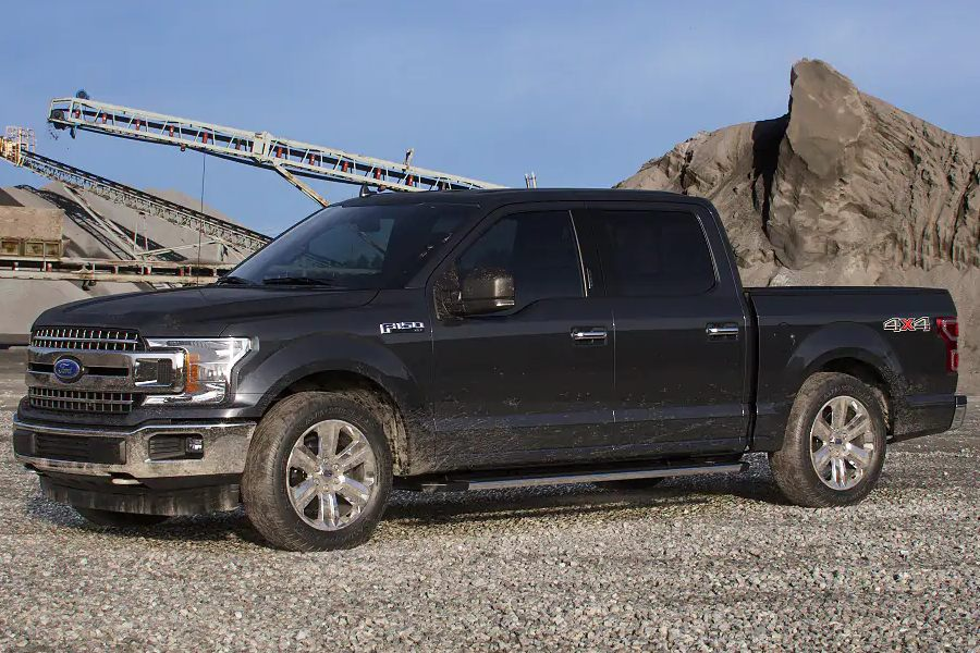 Front driver angle of the 2019 Ford F-150 in Agate Black color
