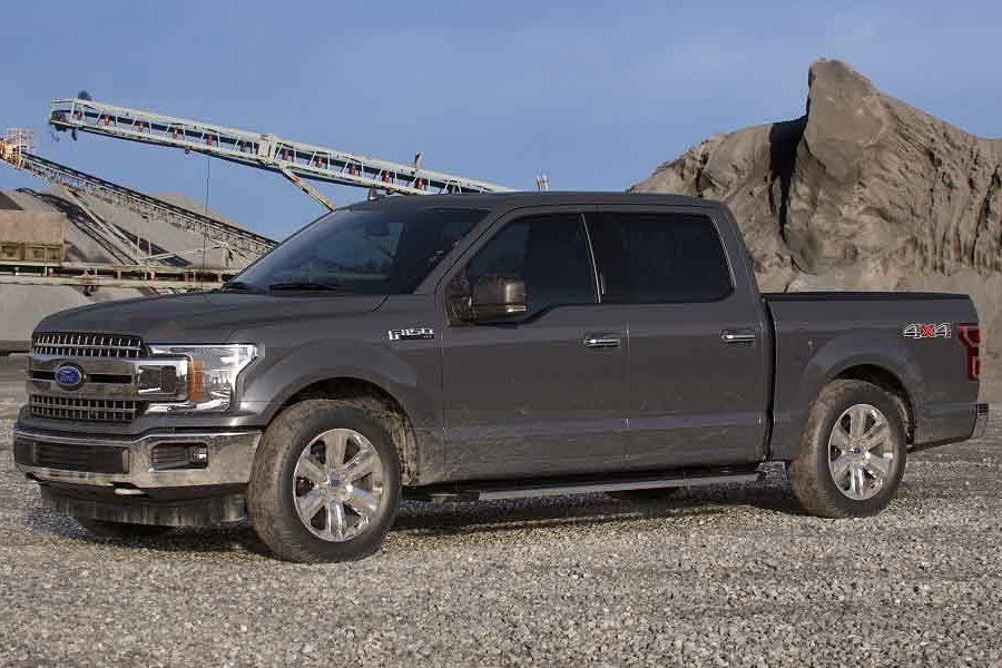 Front driver angle of the 2019 Ford F-150 in Abyss Gray color