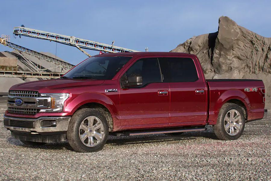 Front driver angle of the 2019 Ford F-150 in Ruby Red color
