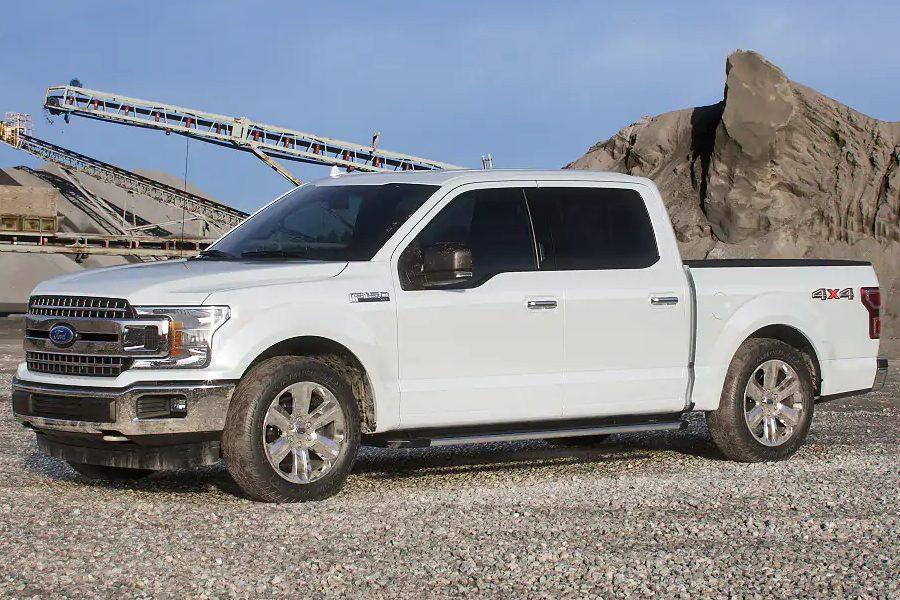 Front driver angle of the 2019 Ford F-150 in White Platinum color