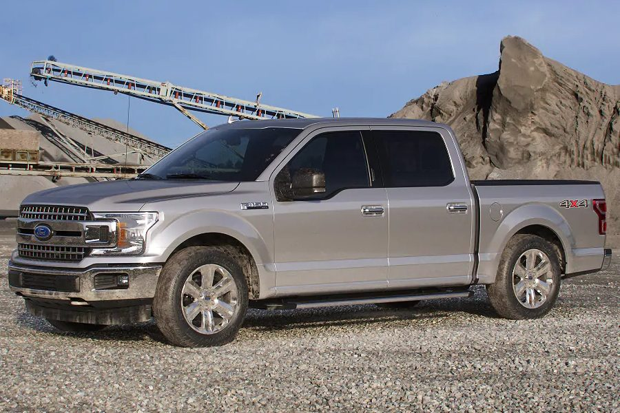 Front driver angle of the 2019 Ford F-150 in Ingot Silver color