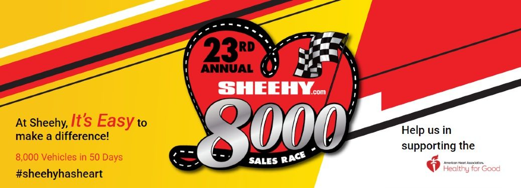 Graphic with the Sheehy 8000 Sales Race logo and text detailing the support of the American Heart Association
